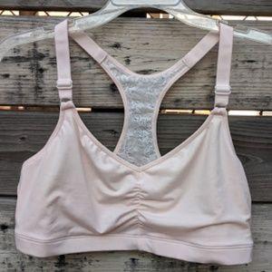 NWT Hanes Pale Pink Lace Racerback Bralette Sz 2XL